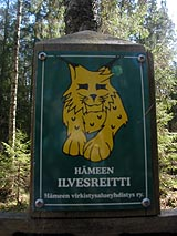 One part of the trail is marked with the Häme Ilvesreitti Trail network metal plaques. Photo: Outi Mäenpää