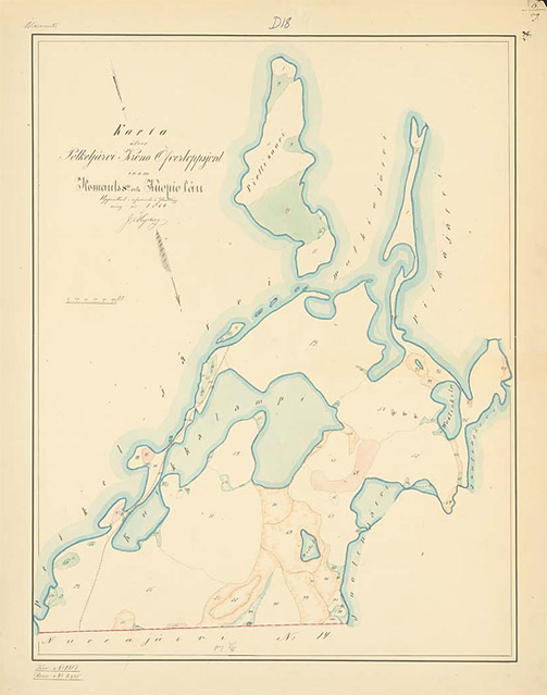 Map from 1864. On the map forest meadows are coloured green, slash-and-burn lands are red, mires are brown or with green lines. Picture by: Finnish National Archives