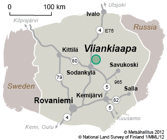 Map of surroundings of Viiankiaapa. © Metsähallitus 2012