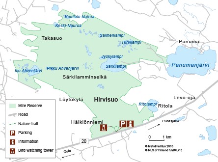 Map of Hirvisuo Mire Reserve.