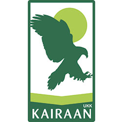 "A standing rectangular symbol where a golden eagle and a round object is depicted inside. The text ""UKK Kairaan"" is written at the bottom edge of the symbol."
