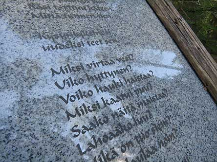 Seven poems on different topics are posted along the Runokangas nature trail. Photo: Pauliina Perkkiö