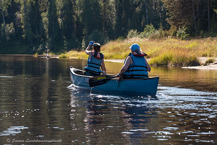 Oulankajoki is good for families and fresh starters as beeing a calm river. Photo: Paavo Hamunen