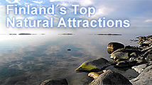 Sea scenery. Text: Finland's Top Natural Attractions. Open Top Attractions.