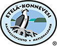 The drawn emblem of Southern Konnenvesi national park. An osprey is depicted inside the oval symbol. The text Etelä-Konnenvesi kansallispuisto - national park wraps around the outer edge of the emblem.