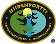Hiidenportti's drawn national park emblem. The oval emblem shows a great grey owl and some spruce twigs. Text wraps around the outer edges of the emblem.