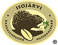 The drawn emblem of Isojärvi national park. Depicted on the oval emblem is an American beaver. Circling the outer rim of the emblem are the words Isojärvi kansallispuisto nationalpark.