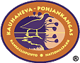 The drawn emblem of Kauhaneva-Pohjankangas national park. Depicted on the oval emblem is a wood sandpiper. Circling the outer rim of the emblem are the words Kauhaneva-Pohjankangas kansallispuisto nationalpark.