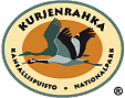 The drawn of emblem of Kurjenrahka national park. Depicted on the oval emblem is a common crane. Circling the outer rim of the emblem are the words Kurjenrahka kansallispuisto nationalpark.