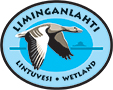 The drawn emblem of Liminka bay. A Greylag goose is depicted inside the oval emblem and the text: Liminganlahti - Lintuvesi - Wetland wraps around the outer edge of the emblem.