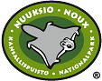 The drawn emblem of Nuuksio national park. A flying squirrel is depicted inside the oval symbol. The text Nuuksio national park in Swedish and Finnish wraps around the outer edge of the emblem.
