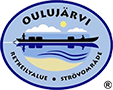 The drawn emblem of Oulujärvi. Inside the oval emblem is a rowing boat, waves, clouds and the sun depicted. The text Oulujärvi hikina area in Finnish and Swedish wraps around the outer edge of the emblem.