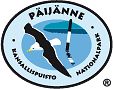 The drawn emblem of Päijänne national park. Depicted on the oval standard is a lesser black-backed gull. Circling the outer rim of the emblem are the words Päijänne kansallispuisto nationalpark.