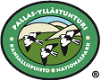 The drawn of emblem of Pallas-Yllästunturi national park. Depicted on the oval emblem are three snow buntings. Circling the outer rim of the emblem are the words Pallas-Yllästunturi kansallispuisto nationalpark.