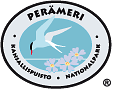 The drawn emblem of Bothnian Bay national park. An arctic tern and the Siberian primrose is depicted inside the oval symbol. The text Perämeri - national park in Swedish and Finnish wraps around the outer edge of the emblem.
