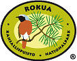 The drawn emblem of Rokua national park. A common redstart on a spruce branch is depicted inside the oval symbol. The text Rokua kansallispuisto - national park wraps around the outer edge of the emblem.