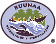 The drawn emblem of Ruunaa. Inside the oval emblem is a boat going through a rapid depicted. The text Ruunaa hiking area in Finnish and Swedish wraps around the outer edge of the emblem.