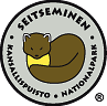 The drawn emblem of Seitseminen national park. A marten is depicted inside the oval symbol. The text Seitseminen kansallispuisto - national park wraps around the outer edge of the emblem.