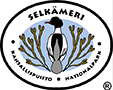 The drawn emblem of Selkämeri national park. A goosander and rockweed are depicted inside the oval symbol. The text Selkämeri kansallispuisto - national park wraps around the outer edge of the emblem.