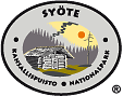 The drawn emblem of Syöte national park. Depicted on the oval standard is a meadow barn. Circling the outer rim of the emblem are the words Syöte kansallispuisto nationalpark.