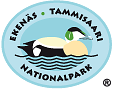 The drawn emblem of Ekenäs archipelago national park. A Common Eider is depicted inside the oval symbol. The text Tammisaari - Ekenäs  kansallispuisto - national park wraps around the outer edge of the emblem.