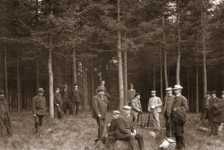 Members of the Finnish Forestry Association in Punkaharju research park 1907. Montell larch forest was planted in 1877. Photo: Lusto/E. M. Andersen.