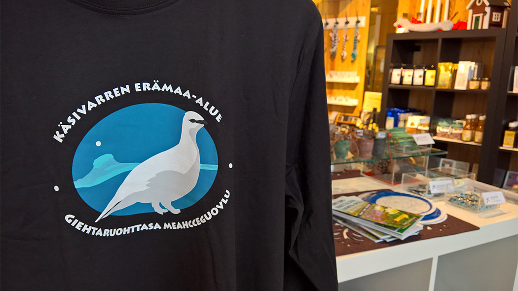 Fell Lapland Visitor Centre has a Pulmuspuoti shop which sells National Park items, Lappish handicrafts, art, souvenirs, maps, books, posters and other products. Photo: Maarit Kyöstilä.