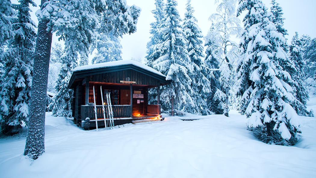 A small hut in the middle of a snowy forest with a pair of skis and ski poles leaning against the hut.