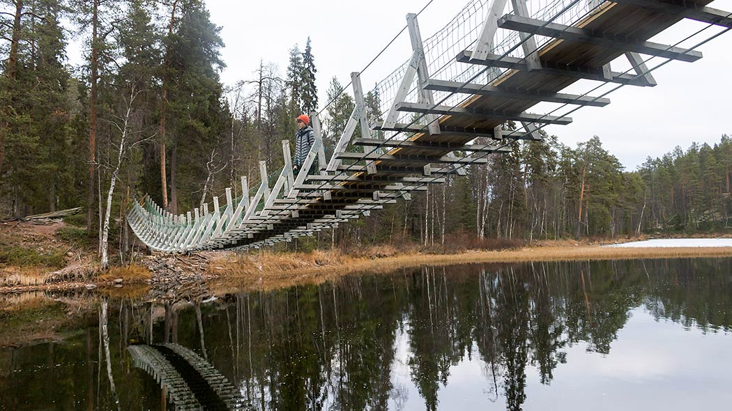 Harrisuvanto hanging bridge is one of the bridges on Karhunkierros. Photo: Sini Salmirinne.