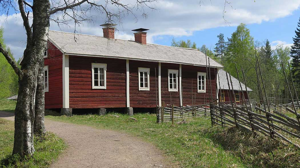 An old wooden building, there are two birch trees and a wooden fence in front of the building.