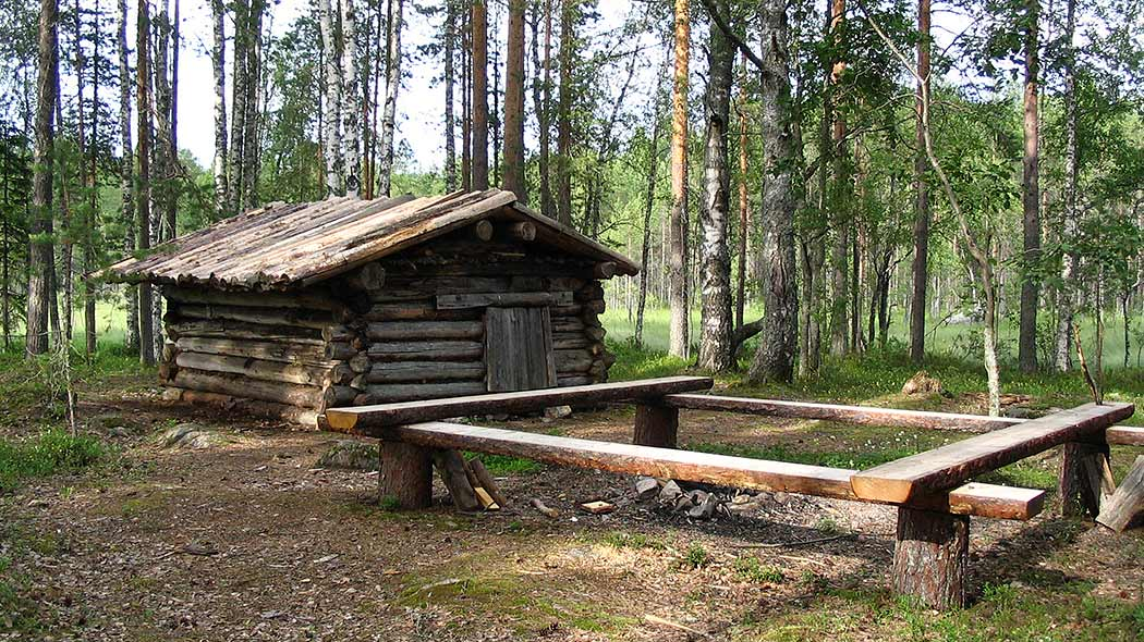 A small log sauna, in front of the building, is a fireplace. The building is surrounded by trees and in the background is a meadow.