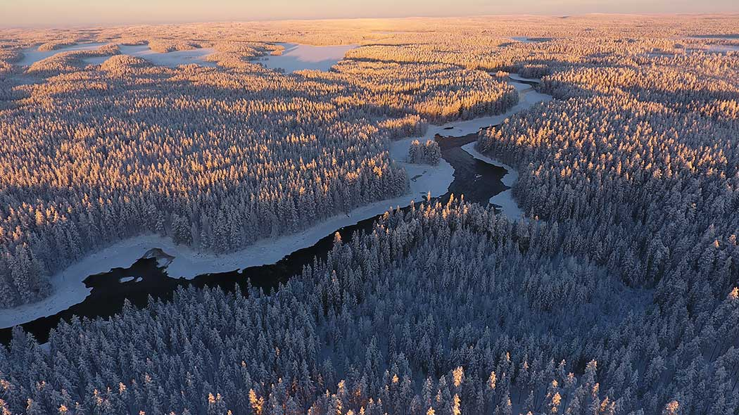 Aerial view of the river landscape in winter.