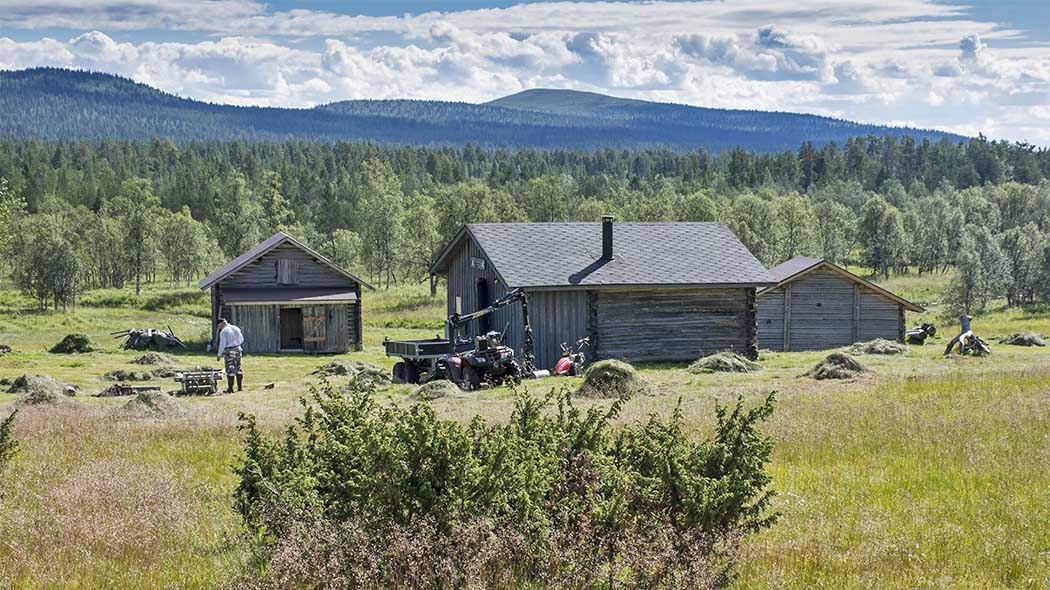 Three log buildings surrounded by a meadow. A person is standing next to an ATV on the yard. Fells can be seen in the background.