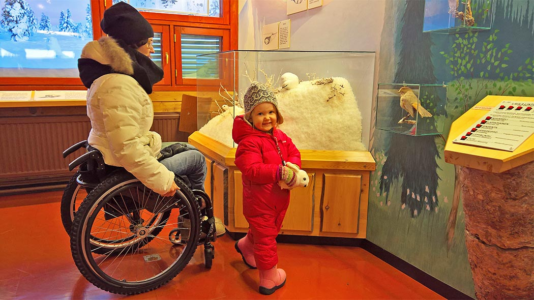 A woman in a wheelchair and a child are studying the exhibit of a visitor centre.