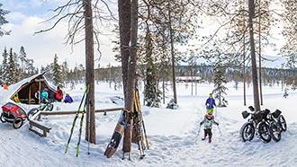 Skis, snowboards and fat bikes leaning against pine trees on a wintry day. One of the bikes is pulling a child trolley. A child followed by an adult is skiing towards the photographer. People are standing next to a snow-covered lean-to shelter in the background.