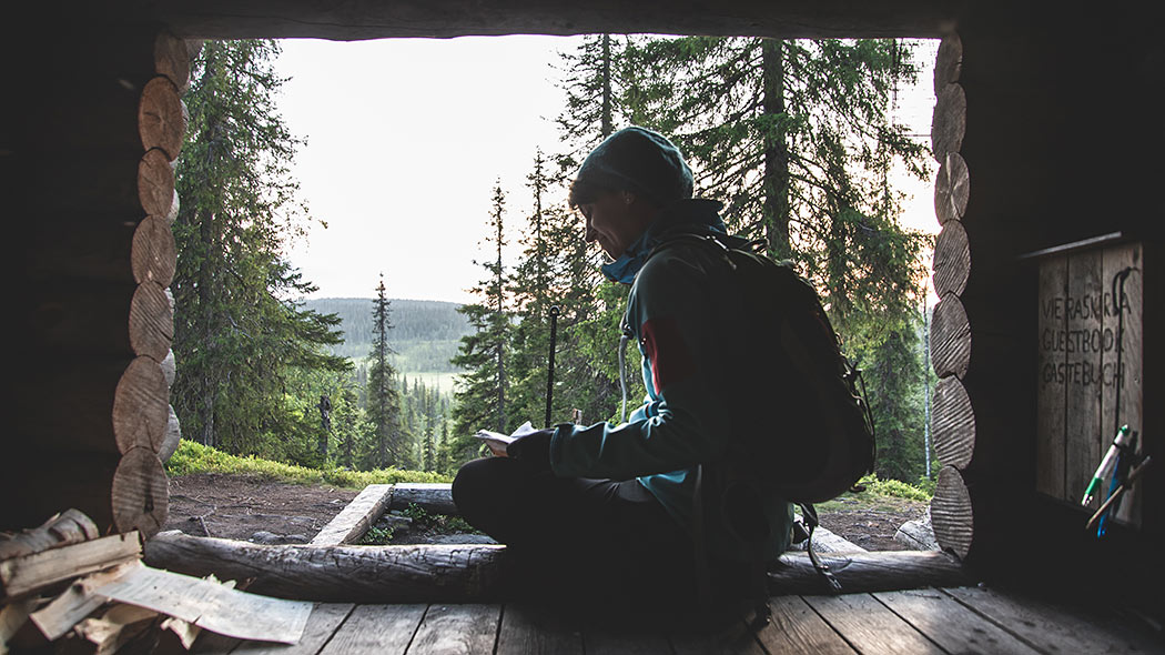 A hiker sitting in a lean-to shelter reading a book. A coniferous landscape opens up in the background.