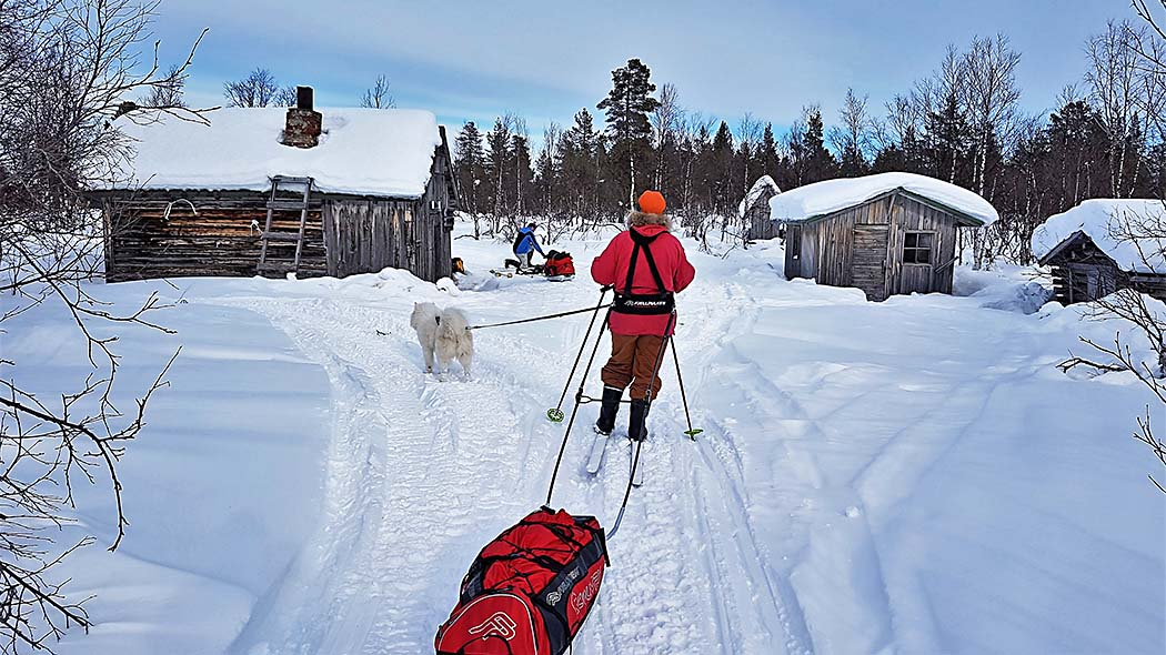 A skier with a dog and a Lapp's sledge has arrived at Korsatupa open wilderness hut. Further away another skier is packing their gear.