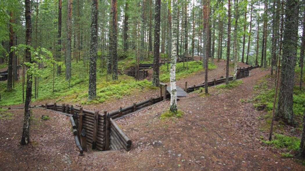 Renovated old wartime buildings in the pine forest. The walls of the trenches are lined with wood.
