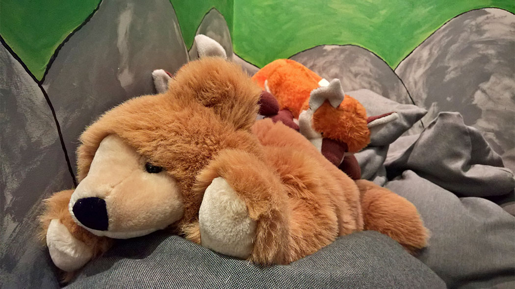 Animal plushies in the children's exhibit Nestling.
