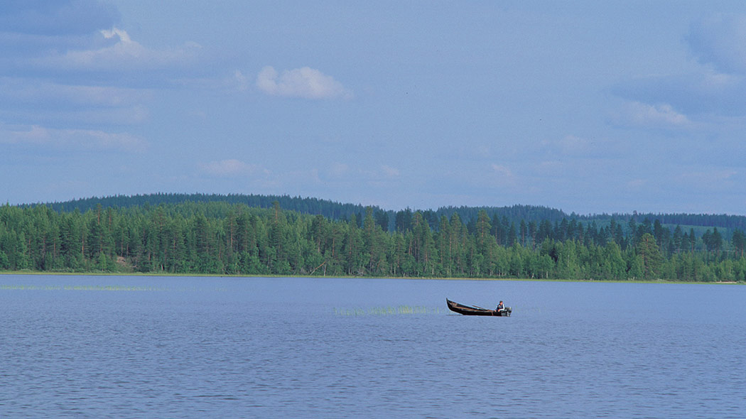 Boater on a calm lake.