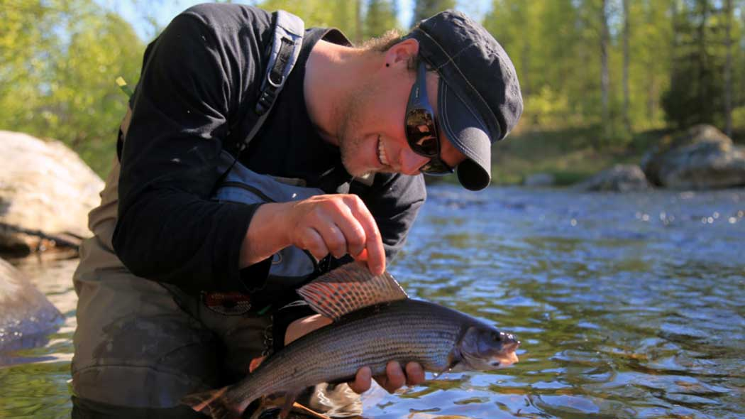 A fisher has caught a grayling.