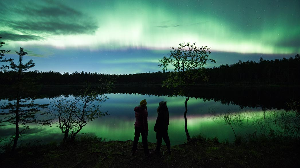 Aurora borealis in Rokua National Park. Photo: Eeva Mäkinen.