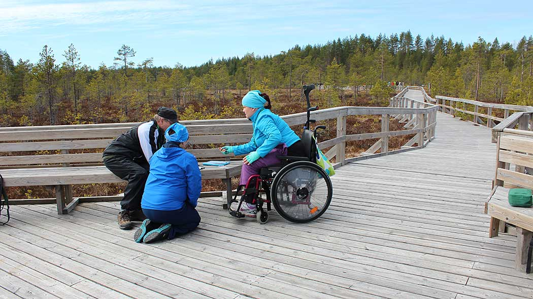 Three hikers on a wooden accessible trail. Two of the hikers are crouched down to read a map, and one hiker is sitting in a wheelchair. A mire landscape is in the background.