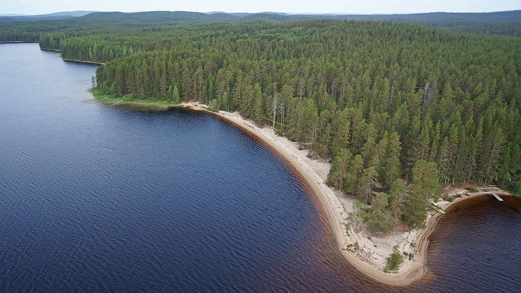 An aerial photograph of a lake, a sandy beach and a forest.