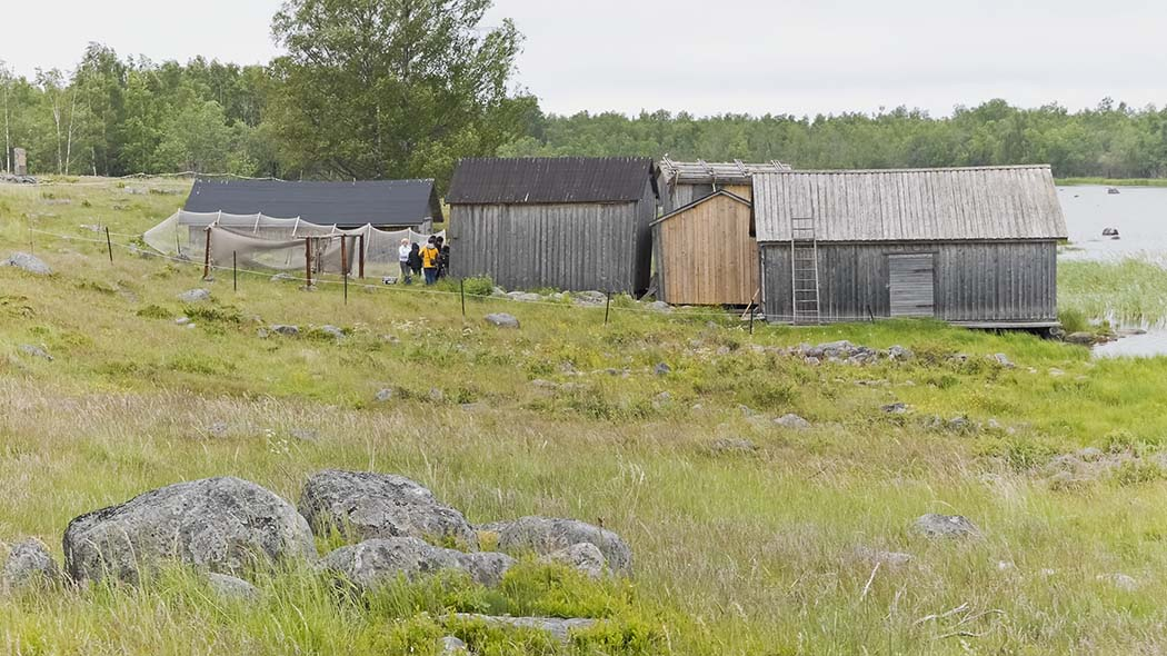 Next to the old boathouses an open long  fishing gear and in front of it a few people. Behind is the beach and forest.