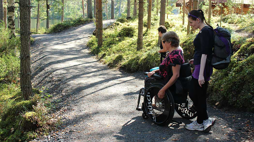 Tree hikers are walking along a wheelchair path in a forest. One of them is in a wheelchair and has an assistant with him. The path is wide and flat.