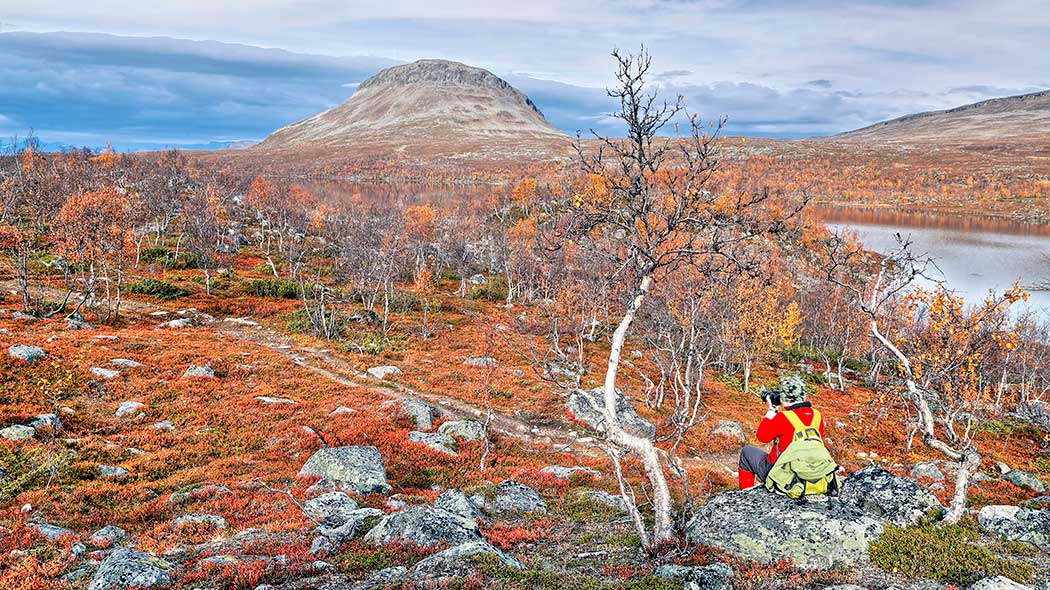A hiker sitting on a rock, taking picture of fall colored brushwood and a fell.