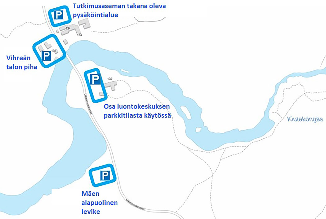 The map of temporary parking areas near Oulanka Visitor Centre.