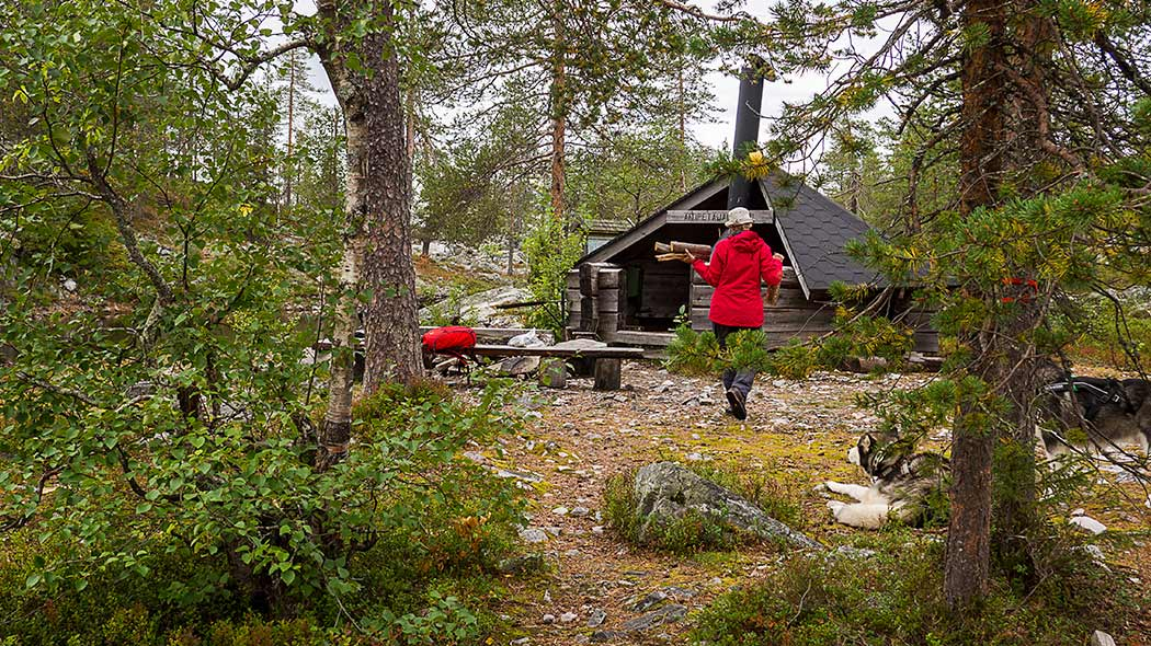 A person carrying wood to the fireplace of Äitipetäjänlampi lean-to shelter.
