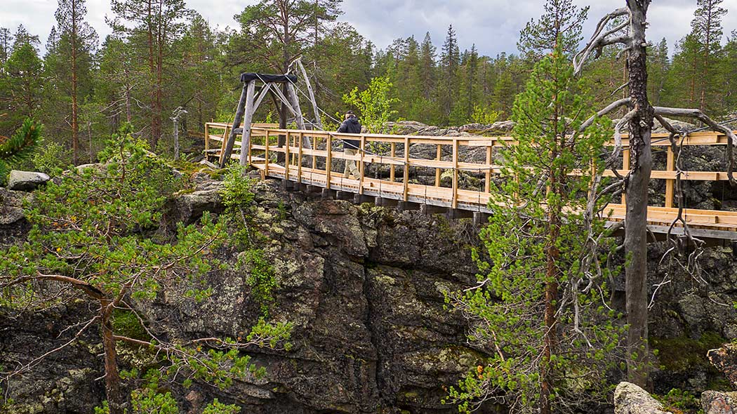 A suspension bridge over a rocky gorge, in the background there are pines and rocks.